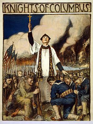 Us Propaganda Drawing - Knights Of Columbus, 1917 by William Balfour Kerr
