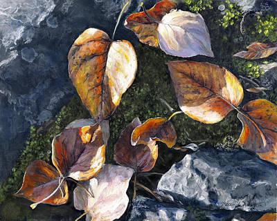 Alaskan Painting - Knik River Autumn Leaves by Karen Whitworth