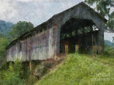 Covered Bridge Painting - Knowlton Covered Bridge Wyane National Forest Hocking County Ohio by Scott B Bennett