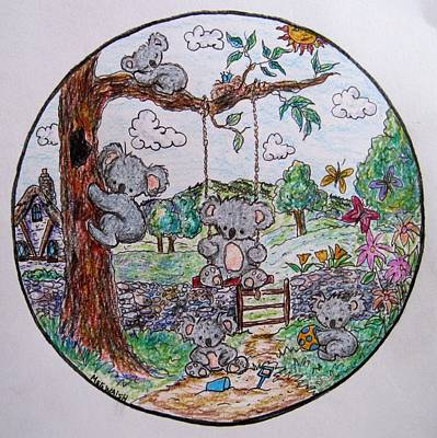 Koala Drawing - Koala World by Megan Walsh