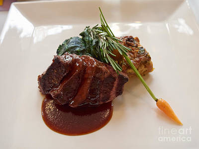 Kobe Beef With Spring Spinach And A Wild Mushroom Bread Pudding Print by Louise Heusinkveld