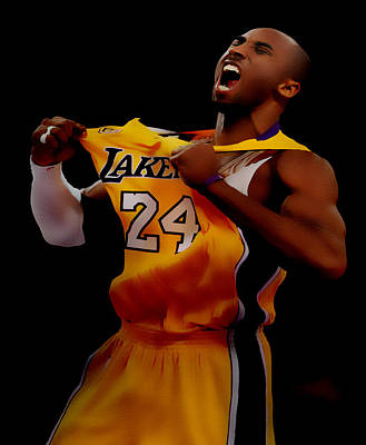 Magic Johnson Mixed Media - Kobe Bryant Sweet Victory by Brian Reaves