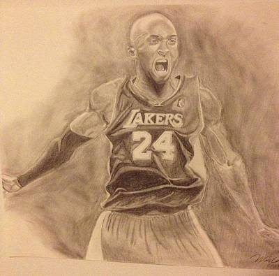 La Lakers Drawing - Kobe by Won Cho