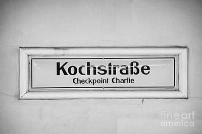 Kochstrasse Checkpoint Charlie Berlin U-bahn Underground Railway Station Name Germany Print by Joe Fox