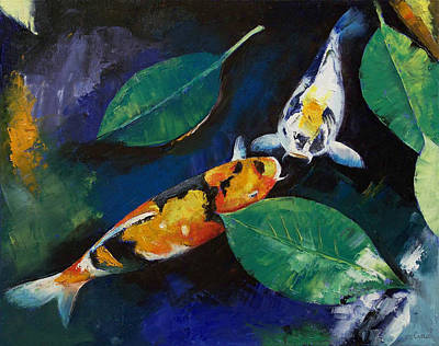 Ko Painting - Koi And Banyan Leaves by Michael Creese
