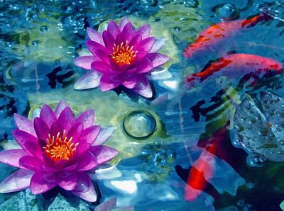 Koi Mixed Media - Koi And The Water Lilies by Georgiana Romanovna