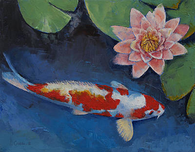 Koi And Water Lily Print by Michael Creese