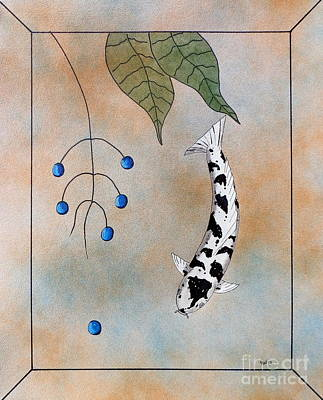 Lucky Dogs Painting - Koi Bekko Blue Painting by Gordon Lavender