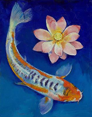 Koi Fish And Lotus Print by Michael Creese