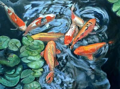 Fish Painting - Koi Frenzy by Donna Tuten