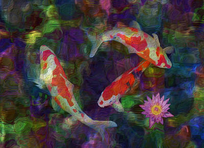 Koi Digital Art - Koi by Jack Zulli