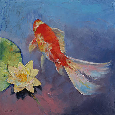 Tropical Fish Painting - Koi On Blue And Mauve by Michael Creese