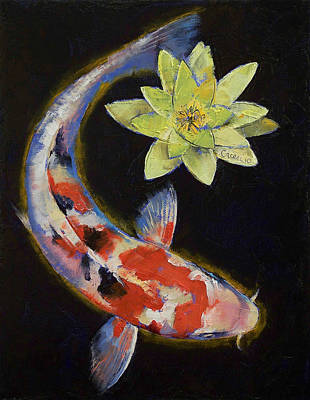 Koi Fish Painting - Koi With Yellow Water Lily by Michael Creese