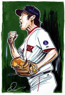 Baseball Art Drawing - Koji Uehara Boston Red Sox by Dave Olsen