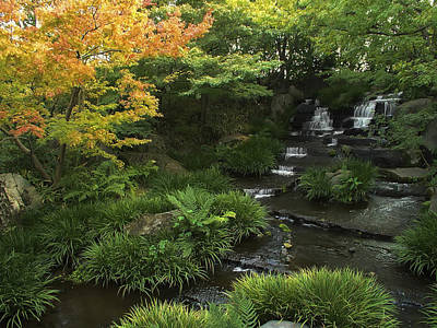Kokoen Photograph - Kokoen Garden Waterfall - Himeji Japan by Daniel Hagerman