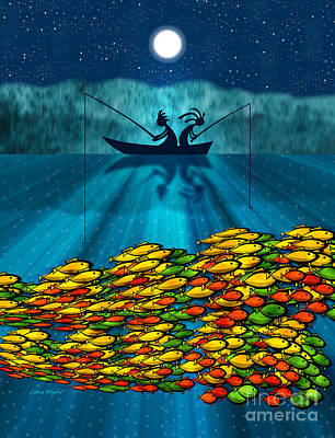 Kokopelli Digital Art - Kokopelli Fishing by Chris Rhynas