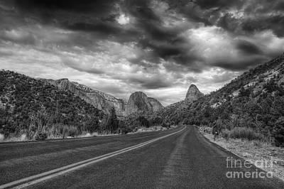 Kolob Photograph - Kolob Canyon Black And White by Eddie Yerkish