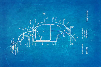 Beetle Photograph - Komenda Vw Beetle Body Design Patent Art 1944 Blueprint by Ian Monk