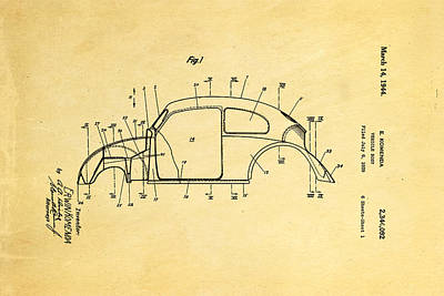 Komenda Vw Beetle Body Design Patent Art 1944 Print by Ian Monk