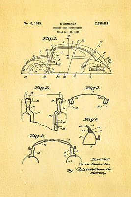 Beetle Photograph - Komenda Vw Beetle Body Design Patent Art 1945 by Ian Monk