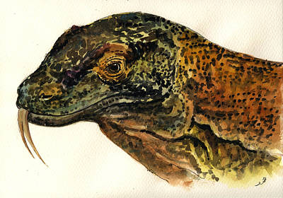 Lizard Painting - Komodo Monitor by Juan  Bosco