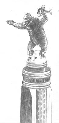 Empire State Building Drawing - Kong The Eighth Wonder by Bryan Bustard