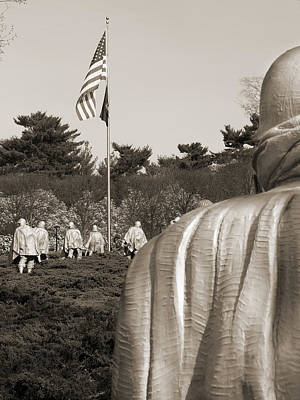 Poncho Photograph - Korean War Memorial  2 - Washington D.c. by Mike McGlothlen