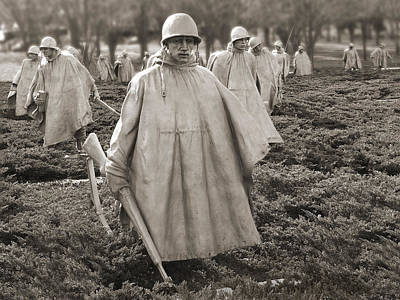 Poncho Photograph - Korean War Memorial - Washington D.c. by Mike McGlothlen