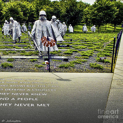 Korean War Memorial Washington D.c. Print by Bob and Nadine Johnston