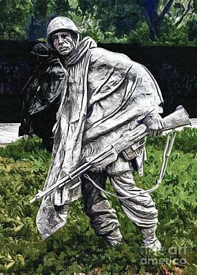 Korean War Veterans Memorial  Barman Print by Bob and Nadine Johnston