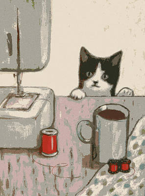 Crafty Cat #2 Print by Kazumi Whitemoon