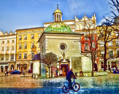 Krakow Digital Art - Krakow Main Square Old Town  by Justyna JBJart