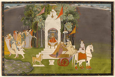 Krishna Abducting Rukmani From The Temple Print by Mountain Dreams