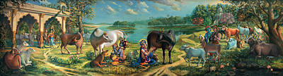 Temple Painting - Krishna Balaram Milking Cows by Vrindavan Das