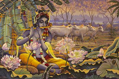 Krishna. Evening Flute Print by Vrindavan Das