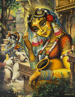 Temple Painting - Krishna Is Here by Vrindavan Das