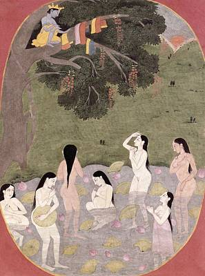 Krishna With The Cow Girls Clothes, Tehri-garhwal, C.1820-30 Wc On Paper Print by Pahari School