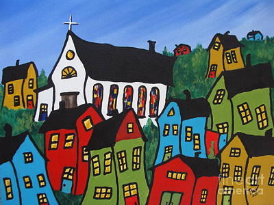 Green Beans Painting - Krooked House Village by Beverly Livingstone