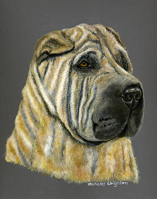 Dog Art Painting - Kruger Shar Pei Portrait by Michelle Wrighton