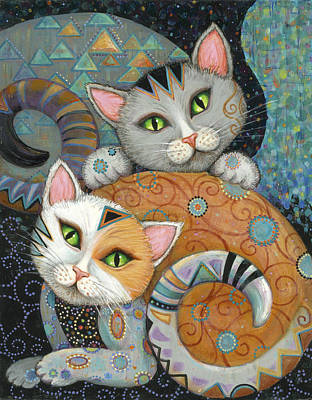 Kuddlekats Print by Marjorie Sarnat