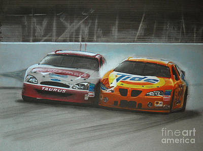 Nascar Drawing - Kurt Busch And Ricky Craven-2003 Darlington Finish by Paul Kuras