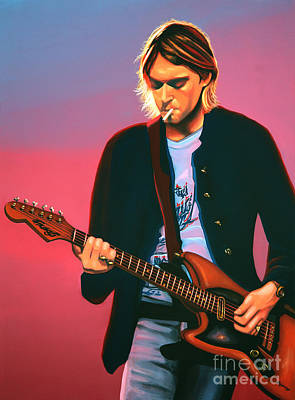 Bands Painting - Kurt Cobain In Nirvana Painting by Paul Meijering