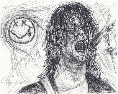 Stone Temple Pilots Drawing - Kurt Cobain by Michael Morgan