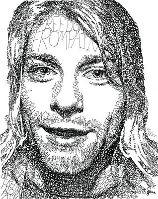 Heart Shaped Rock Drawing - Kurt Cobain by Michael  Volpicelli