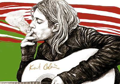 Singer Drawing - Kurt Cobain Morden Art Drawing Poster by Kim Wang