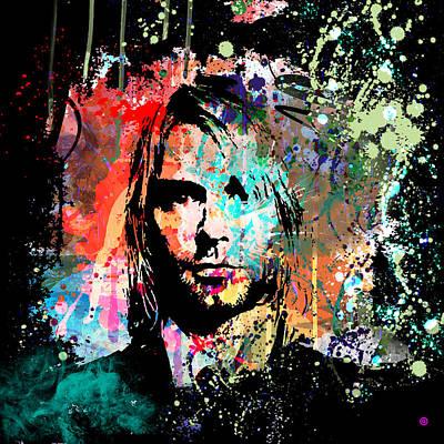 Spilled Painting - Kurt Cobain Portrait by Gary Grayson
