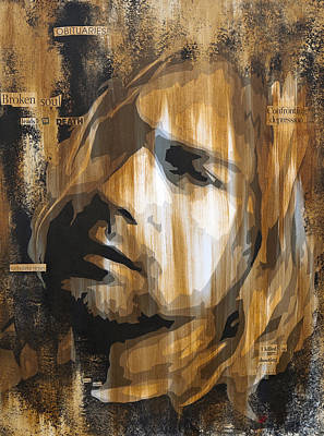 Black Mixed Media - Kurt Cobain Tormented  by Brad Jensen