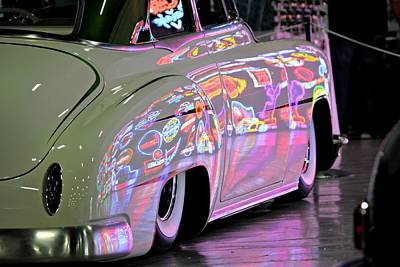 Car Photograph - Kustom Neon Reflections by Steve Natale