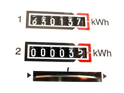 Current Control Photograph - kWh counter by Sinisa Botas