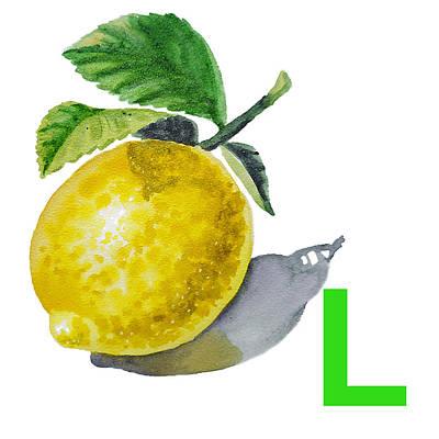 Lemon Painting - L Art Alphabet For Kids Room by Irina Sztukowski
